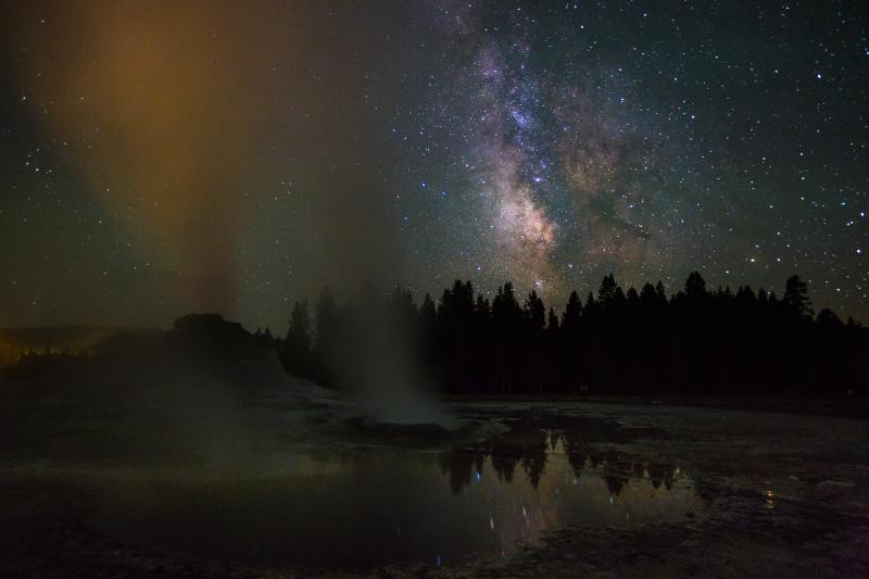 Yellowstone • Castle Geyser & Milky Way